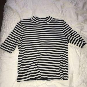 Large striped mock neck shirt